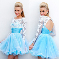 Long Sleeves Backless Short Prom Dress 2015 Blue White Lace Open Back Homecoming Dresses-in Prom Dresses from Apparel & Accessories on Aliexpress.com | Alibaba Group