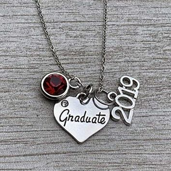 Personalized Graduation Necklace with Birthstone