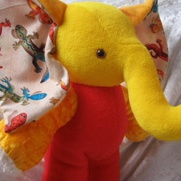 Home Decor ELEPHANT GECKOS red yellow orange blue de Luxe, Luxury Life-Style soft stuffed plush Animal - designed and made in Berlin Germany
