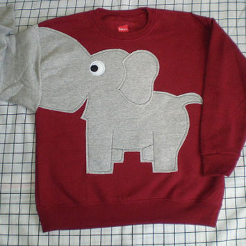 NEw Elephant Trunk sleeve sweatshirt sweater jumper KiDS xS,S,L CRIMSON Red