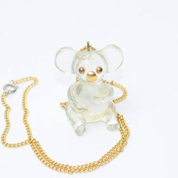 Vintage 80s Super Rad Large Koala Necklace With Gold Chain