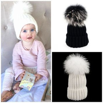 Personality Christmas Fashion Hats The Hair Ball Kids Hats Skullies Beanies Caps Knit Hat Baby Girls Boys Raccoon Fur Pom Poms