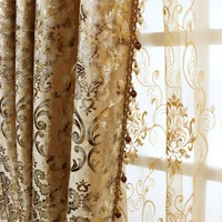 Bedroom European Curtains for The Living Room Window Shading Bronzing Cloth of Dining Key-2 Luxury Style Flannelette