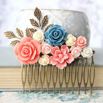 Bridal Hair Comb Flower Comb Floral Hair Accessories Spring Bridal Leaf Branch Wedding Hair Accessories Something Blue Rose Coral Cream