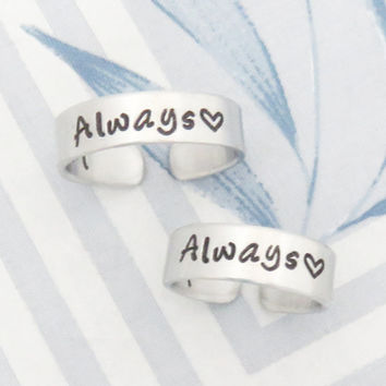Always couple rings - Promise rings for couple - Boyfriend girlfriend rings - Personalized initials rings with heart