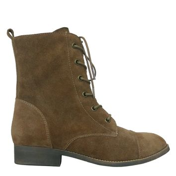 Iris Footwear Designer BRITT Brown Suede Lace Up Leather Boots