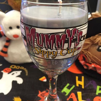 *Clearance* Halloween Wine Glass Candle