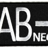 "Embroidered Iron On Patch - AB Negative Blood Type 3"" Patch"