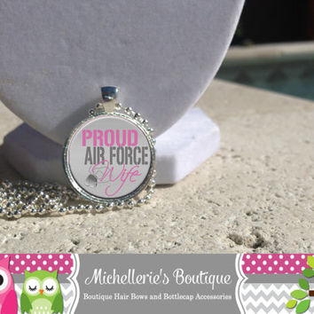 Proud Air Force Wife Necklace Bracelet Air Force Wife Pendant Air Force Wife Jewelry Glass Art Pendant  Bezel Pendant Gift for Her