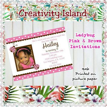 Ladybug Pink, Brown & polkadots Girl's  birthday invitations.  4x6, picture paper, glossy, high quality, digital, happy birthday, invites