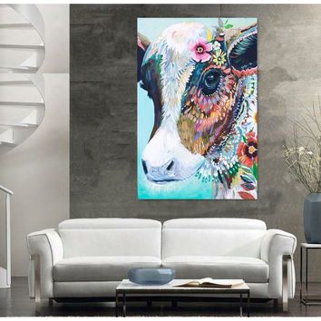 High Quality Flowers Cow Head Picture Wall Mural Art Painting Vintage Home Decor Little Cow Oil Painting On Canvas Print