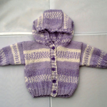 "Hand knitted baby girls hooded jacket. Purple and white hoodie. 16"" chest"