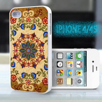 unique iphone case,glitter i phone 4 4s case,cool cute iphone4 iphone4s case,stylish  plastic rubber cases,indian yellow blue  floral , ZB12