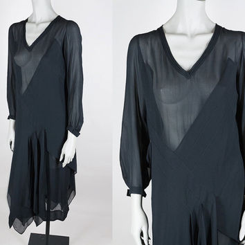 Vintage 20s Dress / Antique 1920s Art Deco Black Sheer Silk Crepe Asymmetrical Flapper Dress