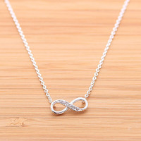 INFINITY necklace with crystals, 2 colors | girlsluv.it