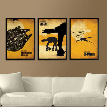 Star Wars Millenium Falcon, X-Wing and ATAT Vintage Poster Set 11X17