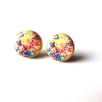 Floral studs post earrings- Flower post earrings- Romantic earrings- Summer fashion post earrings- minimalist jewelry- unique gift for her