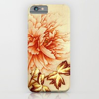 peach and golden floral iPhone & iPod Case by clemm