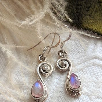 Artisan Crafted Sterling Silver Pink Opal Drop Dangle Earrings