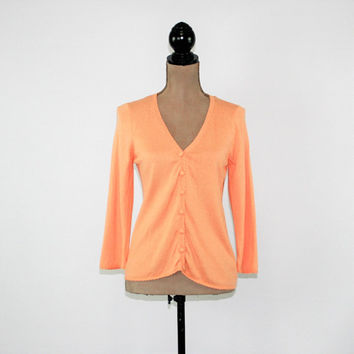 Peach Cardigan Women Peach Sweater Small Spring Cardigan Sweater Lightweight Cardigan Orange Cotton Rayon Vintage Clothing Womens Clothing