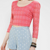 Pins And Needles 3/4 Sleeve Lace Cropped Top
