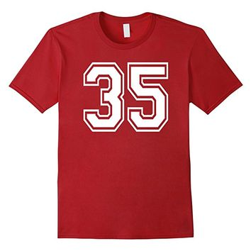 Numbered College Sports Team T-Shirts front and back #35
