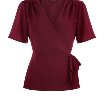 Burgundy V Neck Wide Sleeve Wrap Top | New Look