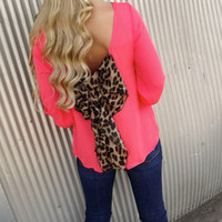 Classic Leopard Bow Blouse - CORAL | The Rage