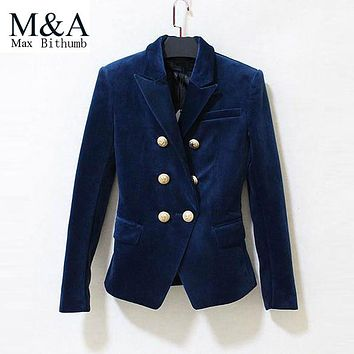 2016 blazer women blazers design and jackets long-sleeve blue velvet suit jacket female work design gold button double breasted