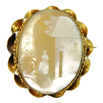 Estate Shell Carved Scenic Cameo Brooch 9k Gold c1900 Antique