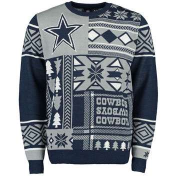 Dallas Cowboys Klew NFL Navy Patches Crew Neck Ugly Sweater