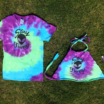 Stay Trippy Alien Tie Dye Rave Halter Crop  Top or T-Shirt