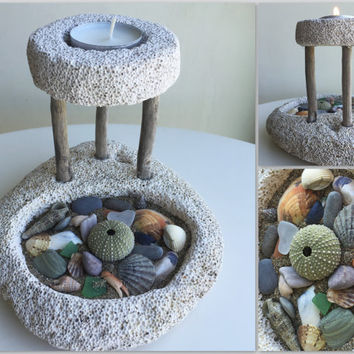 Beach Decor/Nautical Decor/Pumice Stone Candle Holder/Beach Gift/Seashells Decor/Sea Urchin Decor/Ocean Decor/Beach Candle Holder with Sand