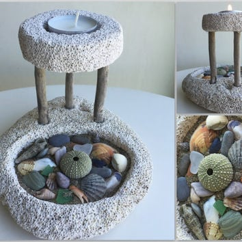 beach decornautical decorpumice stone candle holderbeach giftseashells decor - Ocean Decor