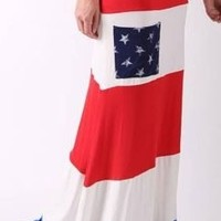 Red White Blue Stars Flowing Maxi Skirt