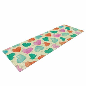 "Louise Machado ""Watercolor Hearts"" Multicolor Red Yoga Mat"