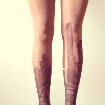 City Skyline Tattoo Tights - Free Shipping - Made to order :)
