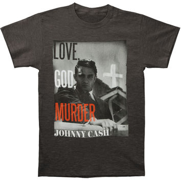 Johnny Cash Men's  Love God Murder T-shirt Grey