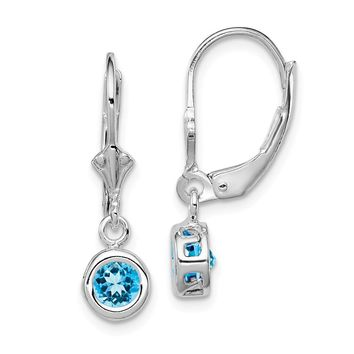 925 Sterling Silver Rhodium 5mm Round Blue Topaz Leverback Earrings