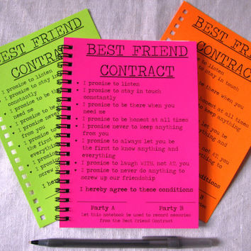 Special edition best friend contract from journaling jane special edition best friend contract your choice neon color 5 x 7 journal thecheapjerseys Choice Image