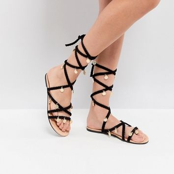 ASOS FOLLY Tie Leg Sandals at asos.com
