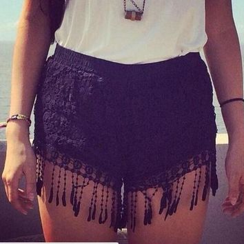 Hot Shorts Women summer short pants Crochet Lace  White Casual Tassel Elastic Waist Slim sexy Hot  Drop ShippingAT_43_3