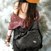 Gray & Black slouchy leather hobo raw  bohemian  motorbike  tribal bag fringe southwest western gothic native rock n roll bag goth gothic