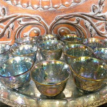Iridescent Blue Carnival Glass Cups 12