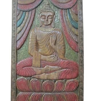 Architectural Wall Sculpture Hand Carved Buddha Carved Wood Panel India