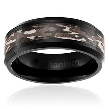 8MM Titanium Camo Wedding Band Black Plated Ring with Brown Military Camouflage Inlay | FREE ENGRAVING
