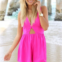Pink Cut- Out Strappy V-Neckline Romper