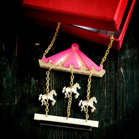 Carousel Necklace,Circus Necklace,Merry Go Round Necklace,Carnival Necklace