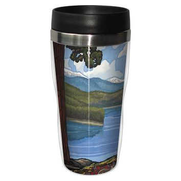 Lake with Flowers Artful Travel Mug - Premium 16 oz Stainless Lined w/ No Spill Lid