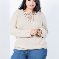 Plus Size Laced Up Sweater